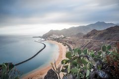 Panorama of beach Las Teresitas, Tenerife, Canary Islands, Spain. Nature, coastline. Beautiful Playa de las Teresitas, Spain,Tenerife Stock Photo