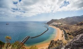 Panorama of beach Las Teresitas, Tenerife, Canary Islands, Spain. Nature, coastline. Beautiful Playa de las Teresitas, Spain,Tenerife Royalty Free Stock Photo