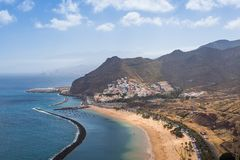 Panorama of beach Las Teresitas, Tenerife, Canary Islands, Spain. Nature, coastline. Beautiful Playa de las Teresitas, Spain,Tenerife Royalty Free Stock Images