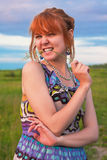 Beautiful playful ginger-haired woman Stock Image