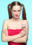 Young woman with ice cream Royalty Free Stock Photos