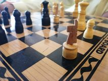 Wooden chess Board with white BLACK AND WOODEN COLOR royalty free stock photography