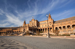beautiful Plaza de西班牙在塞维利亚 免版税图库摄影