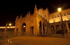 beautiful Plaza de西班牙在晚上 免版税图库摄影