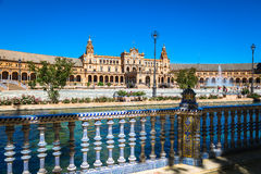 Beautiful Plaza de西班牙,塞维利亚,西班牙 图库摄影
