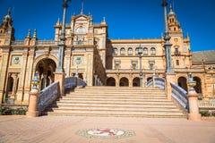 Beautiful Plaza de西班牙,塞维利亚,西班牙 免版税库存图片