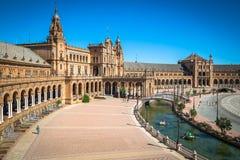 Beautiful Plaza de西班牙,塞维利亚,西班牙 库存照片