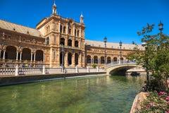 Beautiful Plaza DE Espana, Sevilla, Spanje Royalty-vrije Stock Afbeeldingen