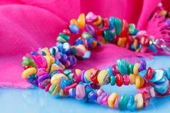 Beautiful plenty of colorful stone beads Royalty Free Stock Photos