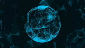 Beautiful plexus. Futuristic world. The sphere consists of triangles, points and lines. Abstract background for business. Presentations. 4k. Loop animation stock footage