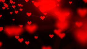 Beautiful plexus of hearts. Valentine`s Day abstract background with hearts. Love. 4k stock video footage