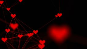Beautiful plexus of hearts. Valentine`s Day abstract background with hearts. Love. 4k stock footage