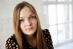 Beautiful plump teen girl with long hair Royalty Free Stock Images