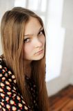 Beautiful plump teen girl with long hair Royalty Free Stock Photos