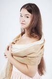 Beautiful plump woung woman with a shawl Stock Photography