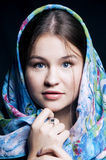 Beautiful plump young woman with a shawl stock photography