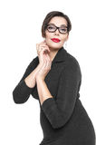 Beautiful plus size woman in black dress and glasses Stock Photos