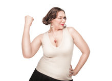 Beautiful plus size woman celebrating success Stock Images