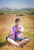 Beautiful plus size woman doing yoga and showing thumbs up Stock Images