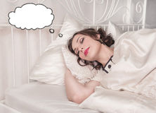 Beautiful plus size woman dreaming about something Royalty Free Stock Images