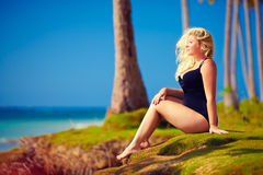 Beautiful plus size woman enjoy life on summer vacation Royalty Free Stock Photography