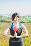 Beautiful plus size woman exercising with ball Royalty Free Stock Images