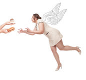 Beautiful plus size woman flying for junk food Stock Photos