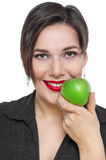 Beautiful plus size woman with green apple isolated Royalty Free Stock Images