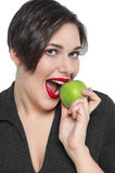 Beautiful plus size woman with green apple isolated Royalty Free Stock Photography