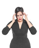 Beautiful plus size woman with headache isolated Stock Photo