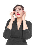 Beautiful plus size woman with headache isolated Royalty Free Stock Photos