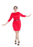 Beautiful plus size woman in red dress Stock Photos