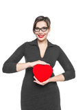 Beautiful plus size woman with red heart Royalty Free Stock Photo
