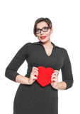 Beautiful plus size woman with red heart Stock Photography
