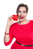 Beautiful plus size woman with red pepper isolated Royalty Free Stock Photo