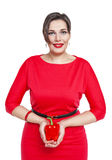 Beautiful plus size woman with red pepper isolated Royalty Free Stock Photos
