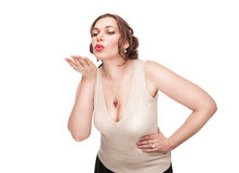 Beautiful plus size woman sending kiss Stock Photography