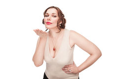 Beautiful plus size woman sending kiss Stock Images