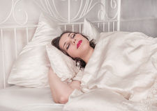 Beautiful plus size woman sleeping Royalty Free Stock Photos