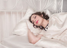 Beautiful plus size woman sleeping Stock Images