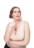 Beautiful plus size woman thinking Royalty Free Stock Photography