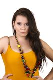 Beautiful plus size woman on a white background Stock Photography