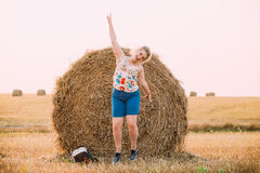 Beautiful Plus Size Young Woman Girl Jumping Near Haystack Stock Photos