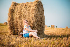Beautiful Plus Size Young Woman In Shirt Posing In Summer Field Stock Images