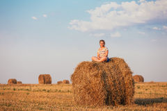 Beautiful Plus Size Young Woman In Shirt Sit Near Hay Bales In S Royalty Free Stock Photos