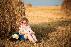 Beautiful Plus Size Young Woman In Shirt Sit Near Hay Bales In Summer Stock Images