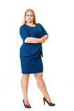 Beautiful plus sized woman in blue dress Royalty Free Stock Photography