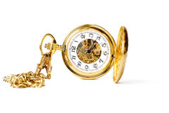beautiful pocket clock in gold Stock Photo