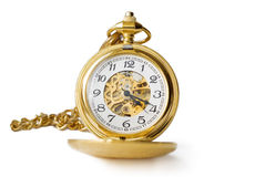 Beautiful Pocket Clock In Gold Royalty Free Stock Photos