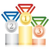 Beautiful podium with gold, silver and bronze medals. Award ceremony.. Beautiful podium with gold, silver and bronze medals. Award ceremony. Vector icon Royalty Free Stock Image